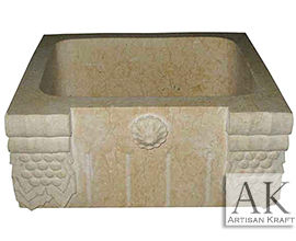 Ornate Beige Marble Farmsink