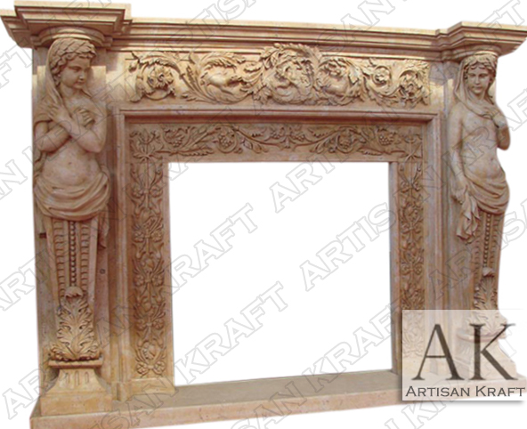 Ornate-Cherubim-Stone Marble Fireplace