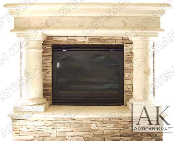 Rustic-Precast-Stone-Surround Texas Fireplaces