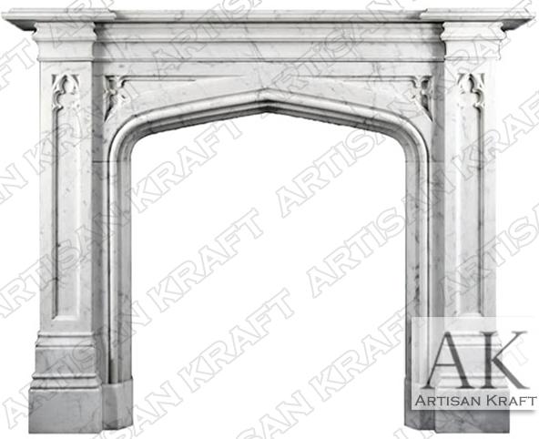 Tudor Fireplace Gothic Mantel White Marble Artisan Kraft