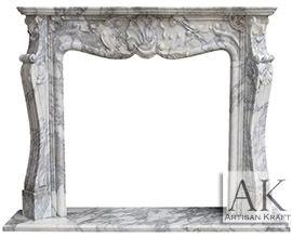 St Louis Italian Arabescato Marble Fireplace