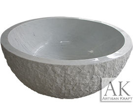 Stone Bathtub Round | Bowl White Marble Tub