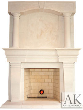 Atlanta Column Cast Stone Overmantel Fireplace