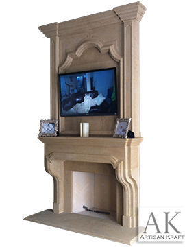 Classic English Cast Stone Overmantel Fireplace