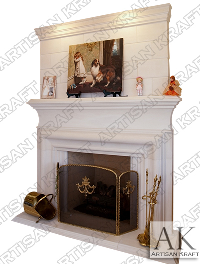 Clermont Cast Stone Overmantel Fireplace French