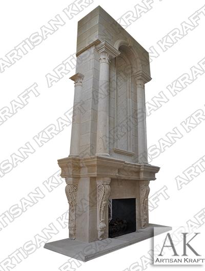 Grand Tradition Custom Cast Stone Fireplace Mantel columns