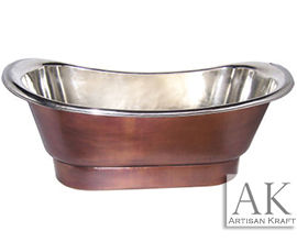 Nickel Plated Smooth Copper Bath Tub