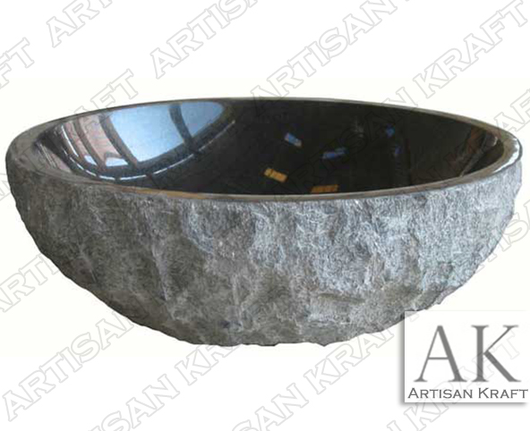 Natural-Absolute-Black-Artisan forest marble sink