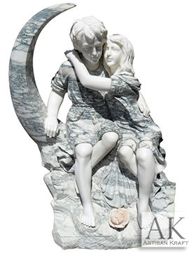 Children On Moon Marble Statue