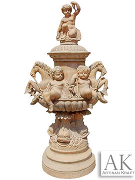 Cherubim Hand Carved Marble Fountain