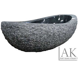 Black Marble Oval Bathtub | Natural Stone Tub