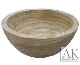 Bowl Bathtub Beige Travertine Round Tub
