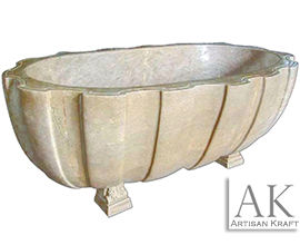 Clawfoot Marble Bathtub Wave Textured Bath