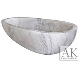Moon White Egg Soaking Bathtub Marble
