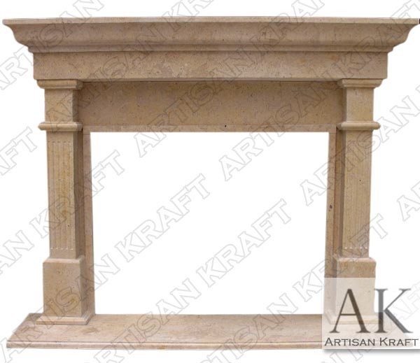 Bradford Antique Beige Marble Mantel Fireplace