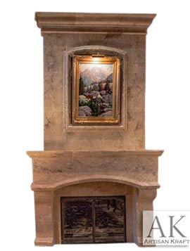 Houston Travertine Overmantel Fireplace