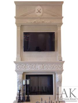 Italian Traditional Cast Stone Overmantel