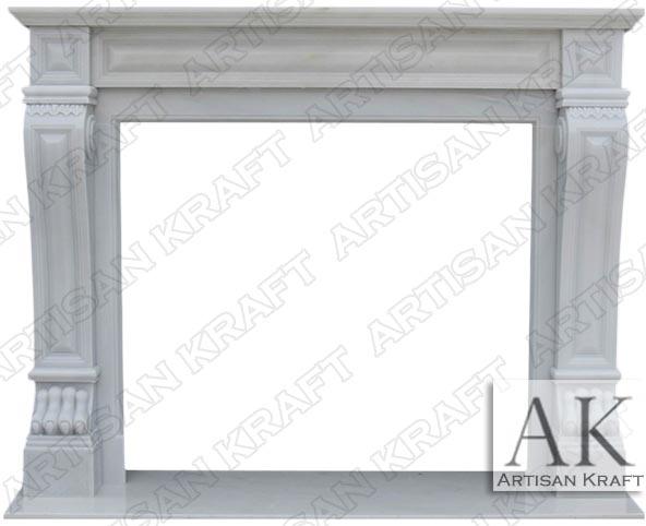 White-Italian-Regal Marble Mantel Surround