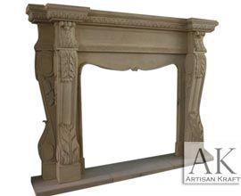 Corbel Leaf Sandstone Fireplace