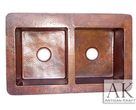 Terra Double Well Farmhouse Hammered Copper Sink