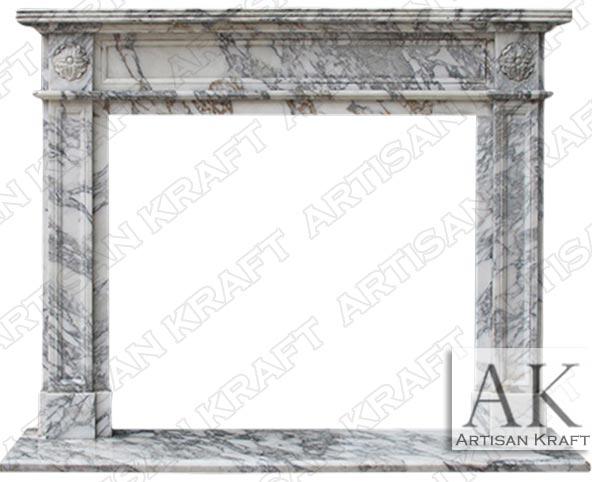 English Regent Arabescato Marble Fireplace