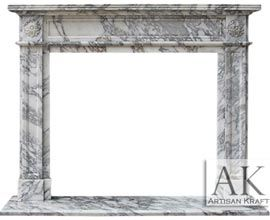 English Regent Arabesco Marble Fireplace