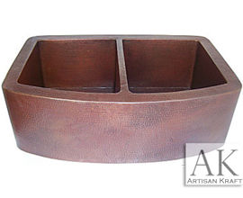 Hammered Copper Farmhouse Double Basin Modern Sink