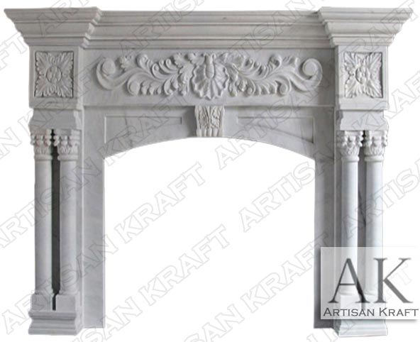 St. Ives Ornate White Marble Fireplace