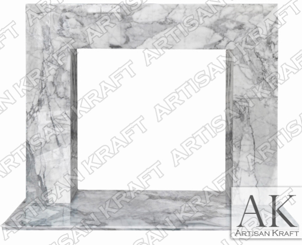 Contemporary Carrara Marble Fireplace Mantel