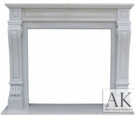 Italian Regal White Marble Mantel