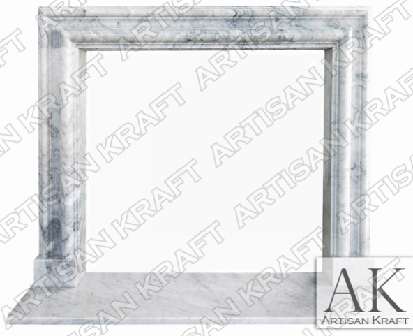 Modern Bolection Carrara Marble Mantel