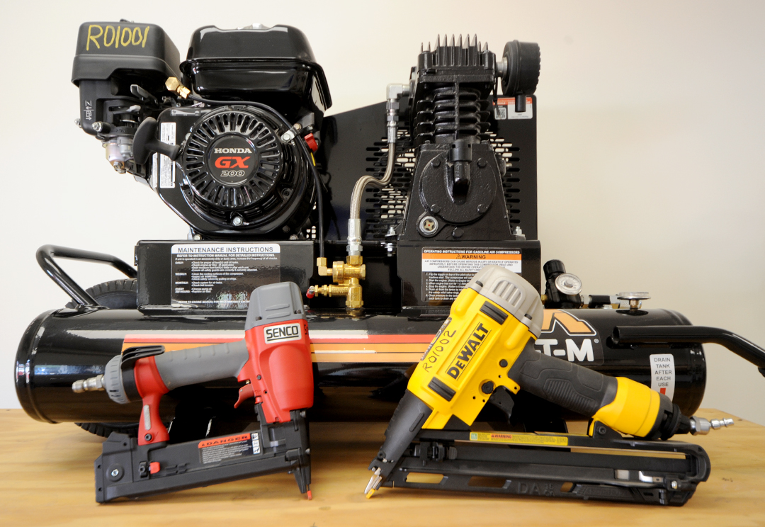 Air Equipment Rental Items - air compressor, staple gun, nail gun