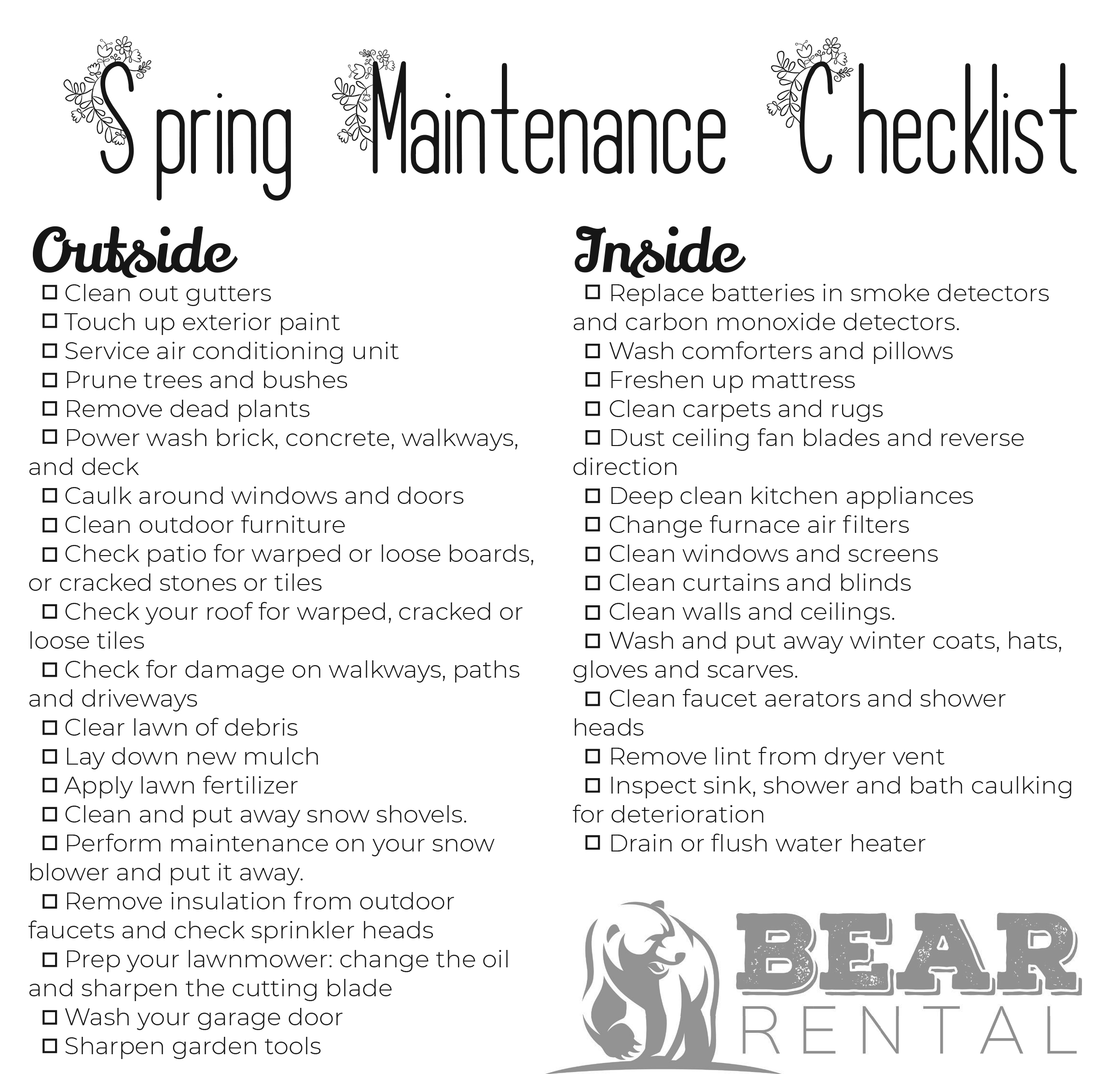 Spring Maintenance Checklist