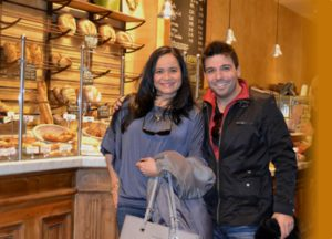 Karla Dias, Account Manager at Celimedia and Thiago Calil at the Belgian boulangerie Le Pain Quotidien