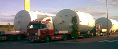 Trucking of tanks. Total weight: 25 MT each. Finland – Spain, 2008