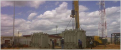 Lifting transformers to lay down area. Total 2 x 55 tons transformers from Varna, Bulgaria – door Guanta, Venezuela. 2010
