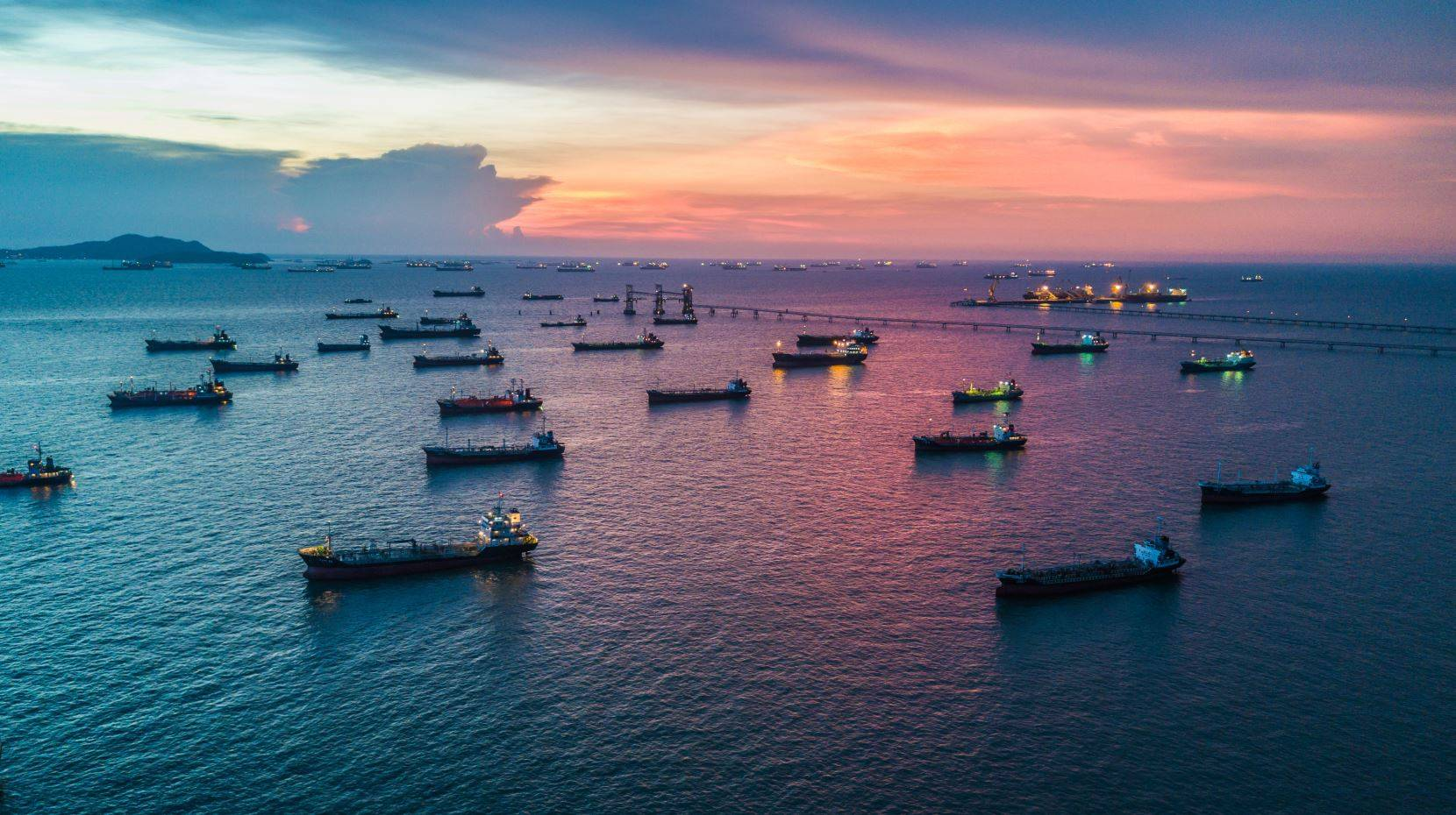 Container ships waiting in harbor due to unprecedented congestion