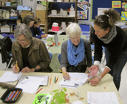 Courtney Longaker (right) assists Susie Brinner and Wendy Stack with an art project at the in-service.