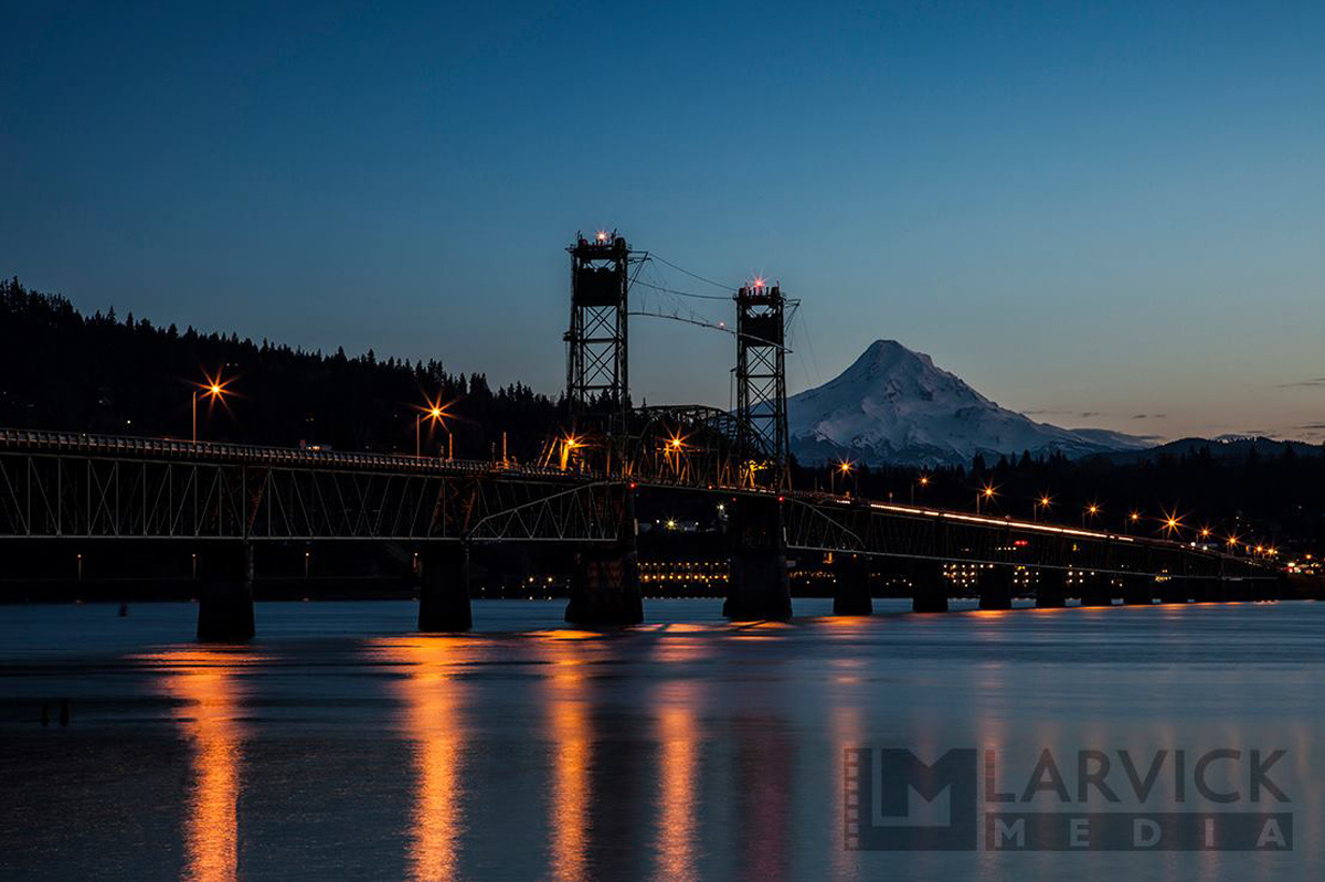 Mt Hood and the Hood River bridge from Washington