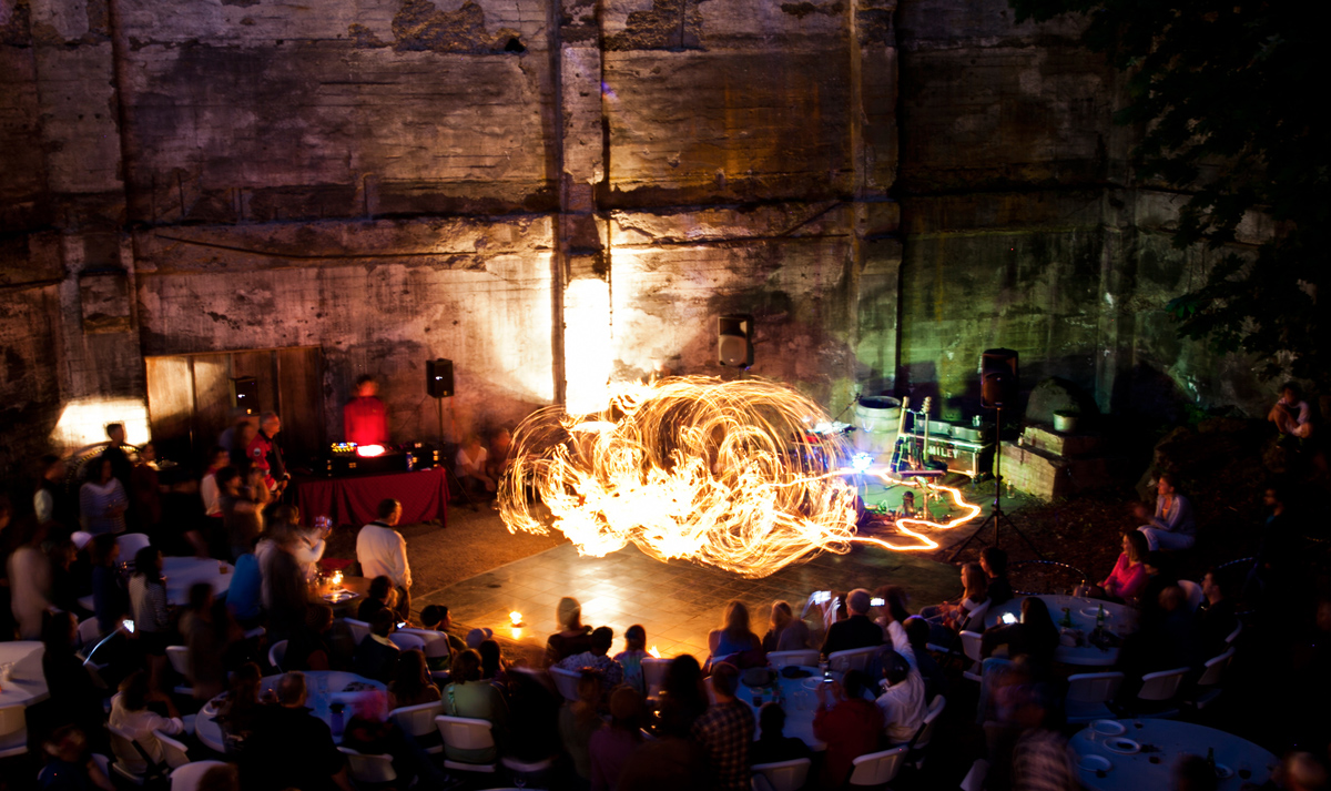Hood River winery Springhouse Cellars Ruins Tuesday party with live music and Fire Dancing