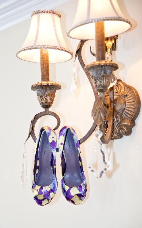 Bride's Shoes Hanging from Lamp