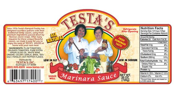Testa's Marinara Sauce label