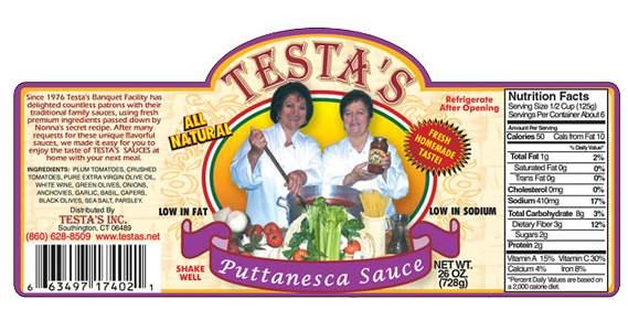 Testa's Puttanesca Sauce Label