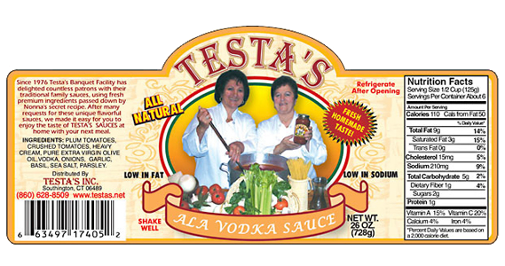 Testa's Ala Vodka Sauce Label