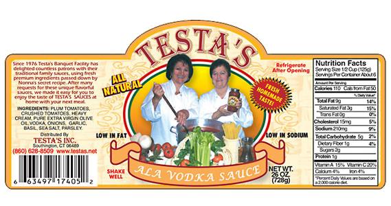 Testa's Ala Vodka Sauce Label