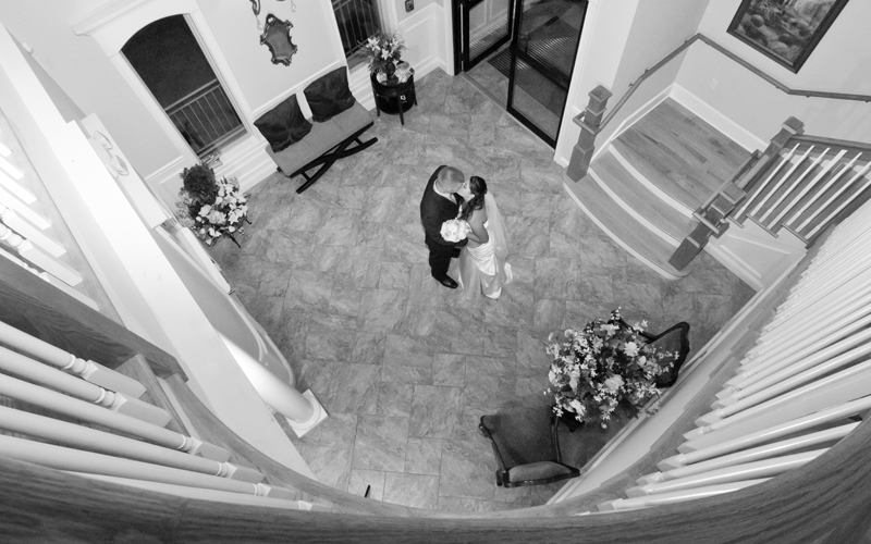 B&W of Couple in Stairway Entrance