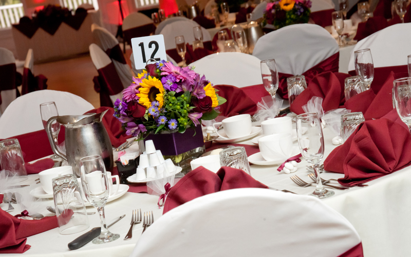 Close Up of Table Settings at Banquet Facility