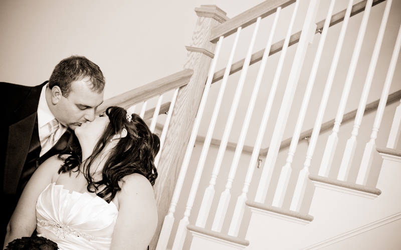 Vintage Picture of Bride and Groom Kissing