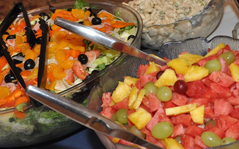 Tossed Salad, Macaroni Salad and Fruit Salad
