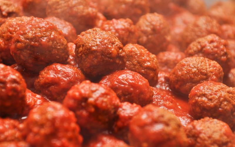 Tray of Fresh Meatballs